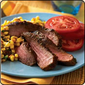 This Grass Fed Criollo Beef is delicious! GRILLED SOUTHWEST STEAKS WITH SPICY CORN SALSA