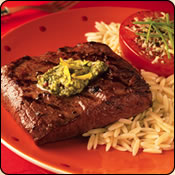 This Grass Fed Criollo Beef is delicious! SPICEY LEMON PESTO FLAT IRON STEAK