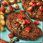 This Grass Fed Criollo Beef is delicious! STEAKS WITH TOMATO TAPENADE