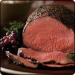 This Grass Fed Criollo Beef is delicious! THYME-RUBBED BEEF TOP ROUND ROAST WITH ROASTED ONION AND PEAR WILD RICE