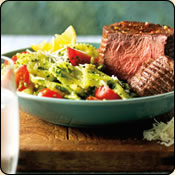 DELICIOUS CRIOLLO GRASS FED BEEF TOP SIRLOIN STEAKS WITH SPINACH-LEMON PESTO PASTA
